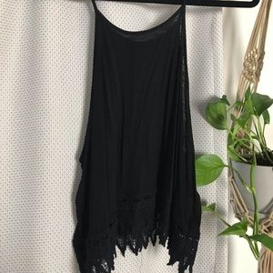 Black tank top with lace trim detail